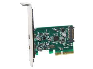Q15749 WBTUO PCI-E 4X to 2-Port USB 3.1 Type-C Adapter / Expansion Card w/ SATA 15pin