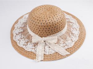 Summer Woman Large Wide Brim Fairy Lace Bowknot Sunbonnet Strawhat Beach Sun Straw Hat Cap