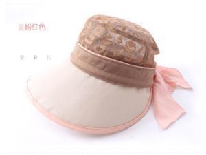 Korean Woman Summer Wide Brim Zipper Detachable Bowknot Beach Sun Hat Cap Ultraviolet-proof