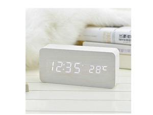 Sourcingbay Voice Control Wooden USB/AAA Digital LED Display Time/Thermometer Alarm Clock (White)