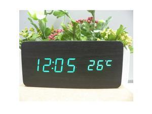 Sourcingbay Voice Control Wooden USB/AAA Digital LED Display Time/Thermometer Alarm Clock (Black-green)