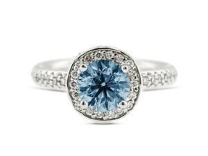 3.15 Carat Excellent Cut Round Blue-SI1 Diamond 14k White Gold Pave Engagement Ring 6.19gm