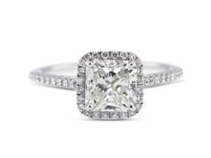 1.04 Carat Excellent Cut Princess D-SI1 Diamond 18k White Gold Micro Pave Engagement Ring 2.84gm