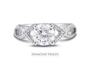 2.08 Carat K-SI1 Excellent Round Natural Diamond 18K White Gold Split Twist Shank Engagement Ring