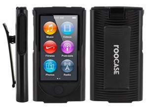 rooCASE Hybrid Skin Case with Holster for iPod Nano 7th Generation, Black