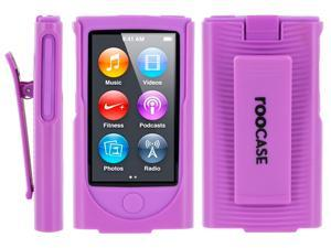 rooCASE Hybrid Skin Case with Holster for iPod Nano 7th Generation, Purple