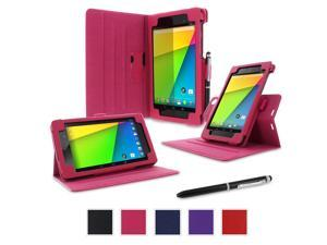 Google Nexus 7 2013 Case, Nexus 7 FHD 2nd Gen Case, rooCASE Dual View Slim Fit Leather PU Folio Stand Smart Auto Wake / Sleep Cover for Asus, Magenta