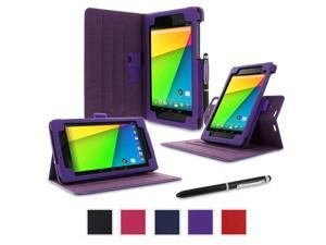 Google Nexus 7 2013 Case, Nexus 7 FHD 2nd Gen Case, rooCASE Dual View Slim Fit Leather PU Folio Stand Smart Auto Wake / Sleep Cover for Asus, Purple