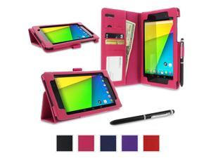 Google Nexus 7 2013 Case, Nexus 7 FHD 2nd Gen Case, rooCASE Origami Dual Station Leather PU Folio Stand Smart Auto Wake / Sleep Cover for Asus Magenta