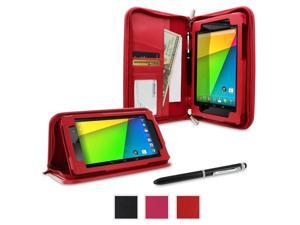 Google Nexus 7 2013 Case, Nexus 7 FHD 2nd Gen Case, rooCASE Executive Portfolio Genuine Leather Stand Smart Auto Wake / Sleep Cover for Asus, Red