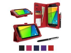 Google Nexus 7 2013 Case, Nexus 7 FHD 2nd Gen Case, rooCASE Origami Dual Station Leather PU Folio Stand Smart Auto Wake / Sleep Cover for Asus, Red