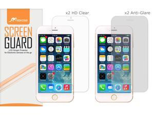 iPhone 6s Screen Protector, roocase 4-Pack iPhone 6s (x2 Anti-Glare Matte & x2 HD Clear) Screen Protectors Film Guard for Apple iPhone 6 / 6s (2015)