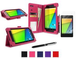 roocase Google Nexus 7 2013 Case Bundle - Dual Station Folio Stand Smart Cover (Supports Auto Sleep/Wake) with Ultra HD Clear Screen Protector for Nexus 7 FHD 2nd Gen, Magenta
