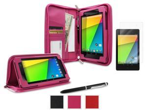 roocase Google Nexus 7 2013 Bundle - Executive Portfolio Leather Case Cover (Supports Auto Sleep/Wake) with Ultra HD Clear Screen Protector for Nexus 7 FHD 2nd Gen, Magenta