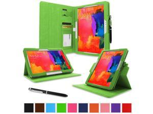 "rooCASE Samsung Galaxy Tab Pro 10.1 / Note 10.1 2014 Edition Case - Dual View Multi Angle Landscape Portrait Stand 10.1-Inch 10.1"" Tablet Case - Green (With Auto Wake / Sleep Cover)"
