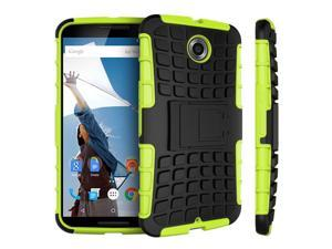 Nexus 6 Case - roocase [BLOK Armor] Hybrid Nexus 6 2014 Dual Layer Rugged Case Cover with Kickstand roocase for Google Nexus 6 Phone 5.9-inch (2014), Green