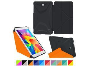 Galaxy Tab 4 7.0 Case, Samsung Galaxy Tab 4 7.0 Case, rooCASE Origami Slim Shell Lightweight Folio Leather PU Stand Smart Cover Tab 4 7 Black Orange