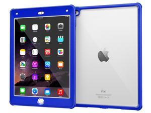 iPad Air 2 Case - roocase [Glacier TOUGH] iPad Air 2 2014 PC TPU Armor Full Body Protection Case Cover with Built-in Screen Protector for Apple iPad Air 2 (2014) 6th Generation, Palatinate Blue