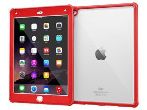 iPad Air 2 Case, Apple iPad Air 2 Clear Case, rooCASE Glacier Tough Built-in Screen Protector Clear Back Rugged Impact Resistant Case Cover for iPad Air 2, Red