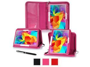 Galaxy Tab 4 10.1 Case, Samsung Galaxy Tab 3 10.1 Case, rooCASE Executive Portfolio Genuine Leather Stand Folio Smart Auto Sleep Wake Cover, Magenta