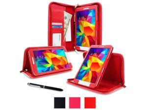 Galaxy Tab 4 7.0 Case, Samsung Galaxy Tab 4 7.0 Case, rooCASE Executive Portfolio Genuine Leather Folio Cover Stand Smart Auto Wake / Sleep, Red