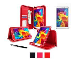rooCASE Samsung Galaxy Tab 4 8.0 SM-T330 Case - Executive Portfolio Leather Cover with Ultra HD Plus Anti-Fingerprint / Self-Healing / Bubble Free Screen Protector for Galaxy Tab 4 8 inch, Red