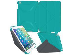 iPad Mini 4 Case - roocase Origami 3D iPad Mini 4 Slim Shell Case Smart Cover Stand with Auto Sleep / Wake for Apple iPad 4 2015, Turquoise Blue