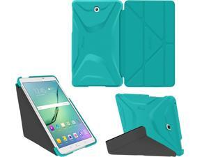 Galaxy Tab S2 9.7 Case - roocase Origami 3D Galaxy Tab S2 9.7 Slim Shell Case Smart Cover Stand with Auto Sleep / Wake for Samsung Galaxy Tab S2 9.7, Turquoise Blue