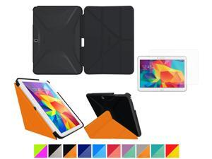 """Galaxy Tab 4 10.1"""" Case, rooCASE Origami 3D Slim Shell Case [Granite Black/rooCASE Orange] Smart Cover Bundle with HD Clear Screen Guard for Samsung Galaxy Tab 4 10.1 (Supports Sleep/Wake Feature)"""