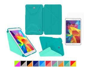 """Galaxy Tab 4 8.0"""" Case, rooCASE Origami 3D Slim Shell Case [Turquoise Blue/Mint Candy] Smart Cover Bundle with HD Clear Screen Guard for Samsung Galaxy Tab 4 8.0 (Supports Sleep/Wake Feature)"""