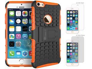 iPhone 6 Case Bundle (Case + Screen Protectors), roocase iPhone 6 4.7 BLOK Armor Hybrid Dual Layer Rugged Case Cover with Kickstand with 4-Pack Screen Protector for Apple iPhone 6 4.7-inch, Orange