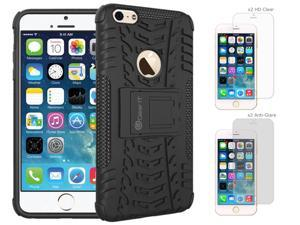 iPhone 6 Case Bundle (Case + Screen Protectors), roocase iPhone 6 4.7 TRAC Armor Hybrid Dual Layer Rugged Case Cover with Kickstand with 4-Pack Screen Protector for Apple iPhone 6 4.7-inch, Black