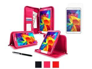 rooCASE Samsung Galaxy Tab 4 8.0 SM-T330 Case - Executive Portfolio Leather Cover with Ultra HD Plus Anti-Fingerprint / Self-Healing / Bubble Free Screen Protector for Galaxy Tab 4 8 inch, Magenta