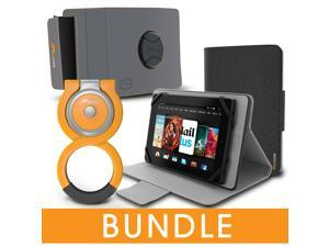 roocase Universal Tablet Orb Bundle, Folio Case Cover Stand for 7 inch Tablet with Orb Loop and Strap - Rotating and Detachable 7.0 inch Tablet Shell Case, Canvas Gray [Patented Orb System]