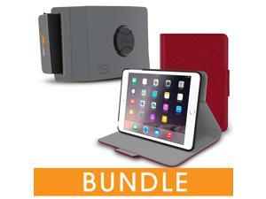 roocase iPad Mini Orb Bundle, Folio Case Cover Stand for Apple iPad Mini 4 / Mini 3 2 1 with Orb Strap Holder - Rotating and Detachable iPad Mini 4 / Mini 3 2 1 Tablet Shell Case, Red