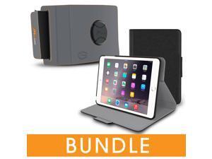 roocase iPad Mini Orb Bundle, Folio Case Cover Stand for Apple iPad Mini 4 / Mini 3 2 1 with Orb Strap Holder - Rotating and Detachable iPad Mini 4 / Mini 3 2 1 Tablet Shell Case, Black