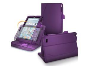 Fire 7 2015 Case, roocase Dual View Pro Amazon Fire 7 2015 PU Leather Folio Case Cover Stand with Card ID Holder for Amazon Fire 7 Tablet 2015, Purple