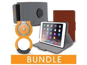 roocase iPad Mini Orb Bundle, Folio Case Cover Stand for Apple iPad Mini 4 / Mini 3 2 1 with Orb Loop and Strap - Rotating and Detachable iPad Mini 4 / Mini 3 2 1 Tablet Shell Case, Brown