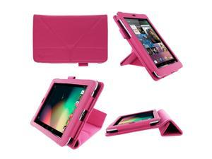 rooCASE Origami Dual-View (Magenta) Vegan Leather Folio Case Cover for Google Nexus 7 Tablet (NOT Compatible with 2013 Nexus 7 2 FHD)