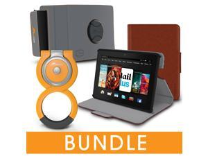 roocase Fire HDX 7 Orb Bundle, Folio Case Cover Stand for Kindle Fire HDX 7 with Orb Loop and Strap - Rotating and Detachable Fire HDX 7 Tablet Shell Case, Brown [Patented Orb System]
