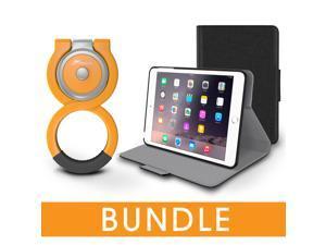 roocase iPad Mini Orb Bundle, Folio Case Cover Stand for Apple iPad Mini 4 / Mini 3 2 1 with Orb Loop Stand - Rotating and Detachable iPad Mini 4 / Mini 3 2 1 Tablet Shell Case, Black