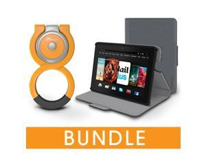 roocase Fire HDX 7 Orb Bundle, Folio Case Cover Stand for Kindle Fire HDX 7 with Orb Loop Stand - Rotating and Detachable Fire HDX 7 Tablet Shell Case, Gray [Patented Orb System]