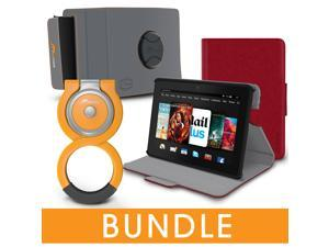 roocase Fire HDX 7 Orb Bundle, Folio Case Cover Stand for Kindle Fire HDX 7 with Orb Loop and Strap - Rotating and Detachable Fire HDX 7 Tablet Shell Case, Red [Patented Orb System]