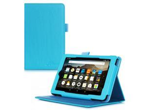 Fire 7 2015 Case, roocase Dual View Amazon Fire 7 2015 PU Leather Folio Case Cover with Stand for Amazon Fire 7 Tablet 2015, Blue