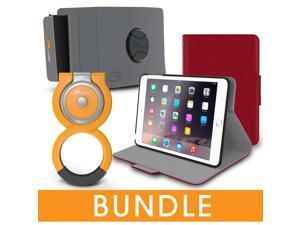 roocase iPad Mini Orb Bundle, Folio Case Cover Stand for Apple iPad Mini 4 / Mini 3 2 1 with Orb Loop and Strap - Rotating and Detachable iPad Mini 4 / Mini 3 2 1 Tablet Shell Case, Red