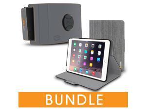 roocase iPad Mini Orb Bundle, Folio Case Cover Stand for Apple iPad Mini 4 / Mini 3 2 1 with Orb Strap Holder - Rotating and Detachable iPad Mini 4 / Mini 3 2 1 Tablet Shell Case, Canvas Gray