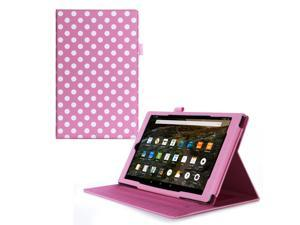 Fire HD 10 Case, roocase Dual View Fire HD 10 PU Leather Folio Case Cover Stand for All-New Amazon Fire HD 10 Tablet (2015), Polkadot Pink