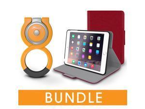 roocase iPad Mini Orb Bundle, Folio Case Cover Stand for Apple iPad Mini 4 / Mini 3 2 1 with Orb Loop Stand - Rotating and Detachable iPad Mini 4 / Mini 3 2 1 Tablet Shell Case, Red
