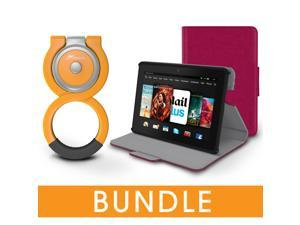 roocase Fire HDX 7 Orb Bundle, Folio Case Cover Stand for Kindle Fire HDX 7 with Orb Loop Stand - Rotating and Detachable Fire HDX 7 Tablet Shell Case, Magenta [Patented Orb System]