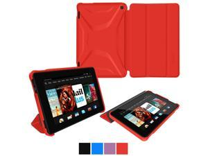 Fire HD 7 2014 Case, roocase Optigon Kindle Fire HD 7 2014 3D Slim Shell Case with Stand for Amazon Kindle Fire HD 7 2014 (4th Generation) [Supports Sleep/Wake Function], Red